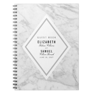Elegant Chic White Grey Marble Wedding Guestbook Notebook