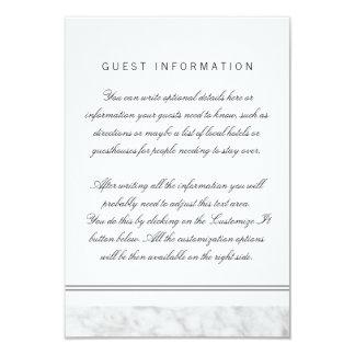Elegant Chic White Grey Marble Wedding Insert Card