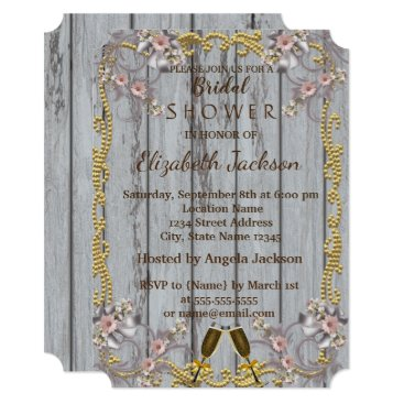 Bride Themed Elegant Chic Wood Texture  Bridal Shower Card