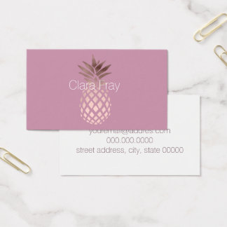 elegant chick clear rose gold tropical pineapple business card