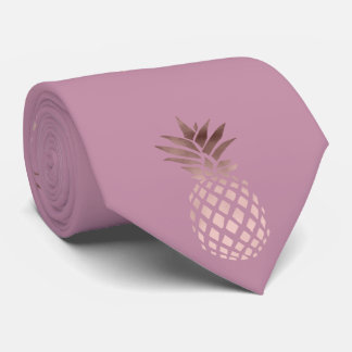 elegant chick clear rose gold tropical pineapple neck tie