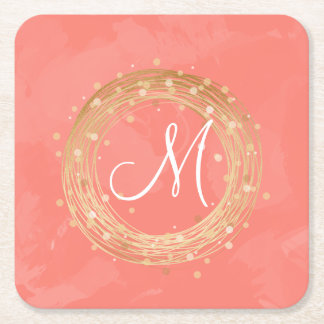 elegant chick faux gold wreath pink brushstrokes square paper coaster