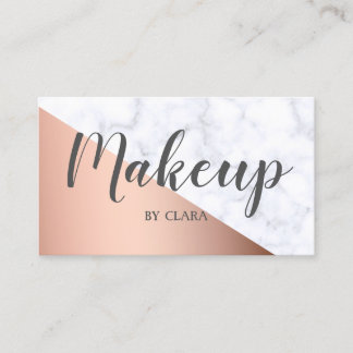 elegant chick geometric white marble rose gold business card