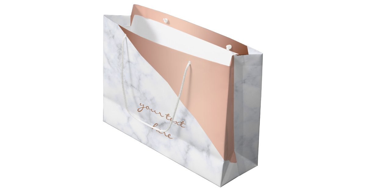 Gift bags favor bags zazzle elegant chick geometric white marble rose gold large gift bag negle Image collections