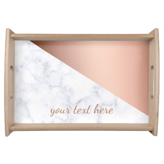 Elegant Geometric White Marble Rose Gold Serving Tray