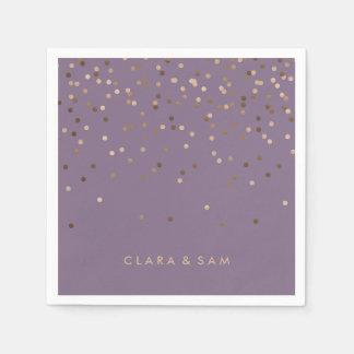 elegant chick glam rose gold confetti dots violet paper napkin