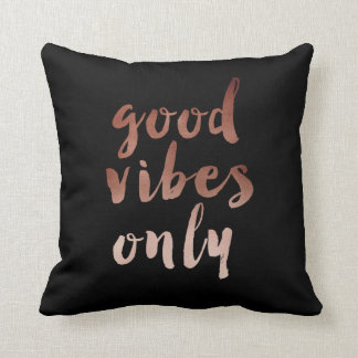 elegant chick good vibes only text faux rose gold throw pillow