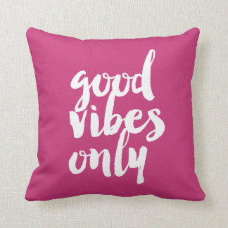 elegant chick good vibes only text girly pink throw pillow