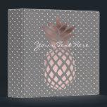 """elegant chick rose gold pineapple polka dots binder<br><div class=""""desc"""">Modern and feminine design featuring faux rose gold pineapple and polka dots background.</div>"""