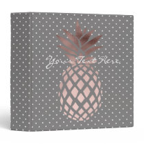elegant chick rose gold pineapple polka dots binder