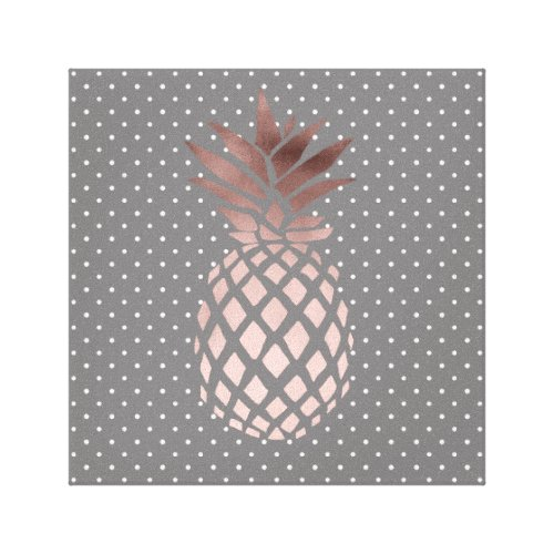 elegant chick rose gold pineapple polka dots canvas print