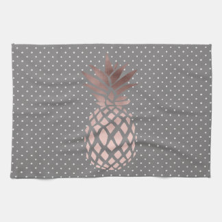 elegant chick rose gold pineapple polka dots kitchen towel