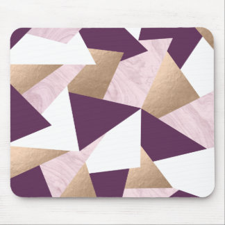 elegant chick rose gold pink marble geometric mouse pad