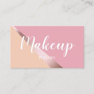 Elegant chick rose gold pink & orange geometric business card