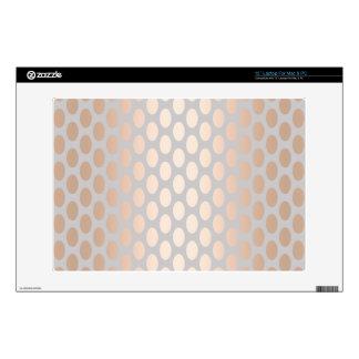 """Elegant Chick Rose Gold Polka Dots Pattern Grey 13"""" Laptop Skin"""