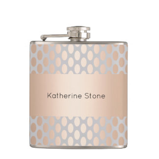 Elegant Chick Rose Gold Polka Dots Pattern Grey Flask