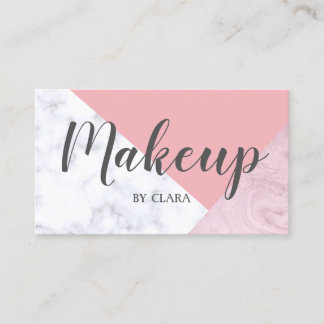 elegant chick white pastel pink marble geometric business card