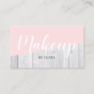 elegant chick white pastel pink wooden geometric business card