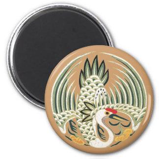 Elegant Chinese Bird Good Luck Symbol 2 Inch Round Magnet