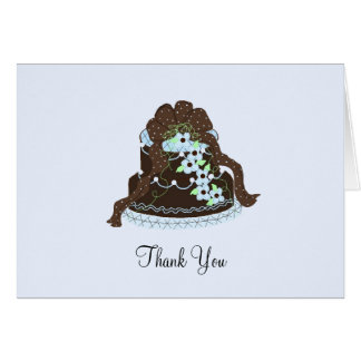 Elegant Chocolate and Blue Cake Stationery Note Card