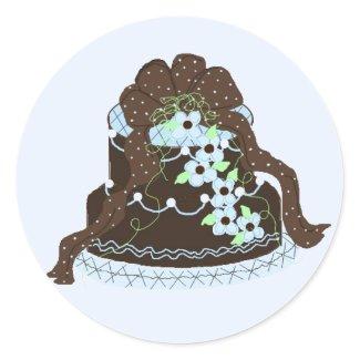 Elegant Chocolate and Blue Cake sticker