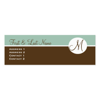 Elegant Chocolate & Blue Monogram Profile Card Double-Sided Mini Business Cards (Pack Of 20)