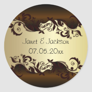 Elegant Chocolate Brown & Gold Florid Wedding Classic Round Sticker