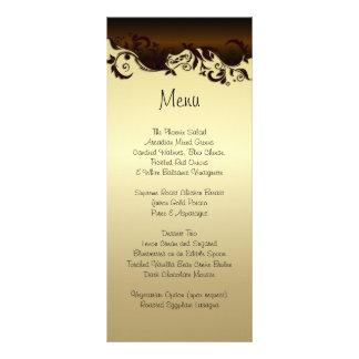 Elegant Chocolate Brown & Gold Florid Wedding Rack Card