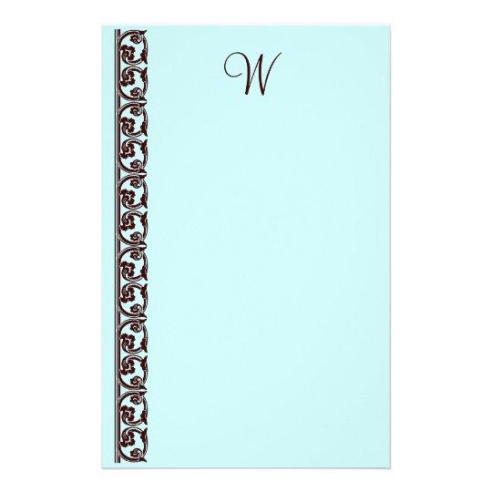 Elegant Chocolate Brown Monogram Teal Stationery