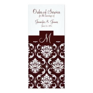Elegant Chocolate Damask Wedding Church Programs