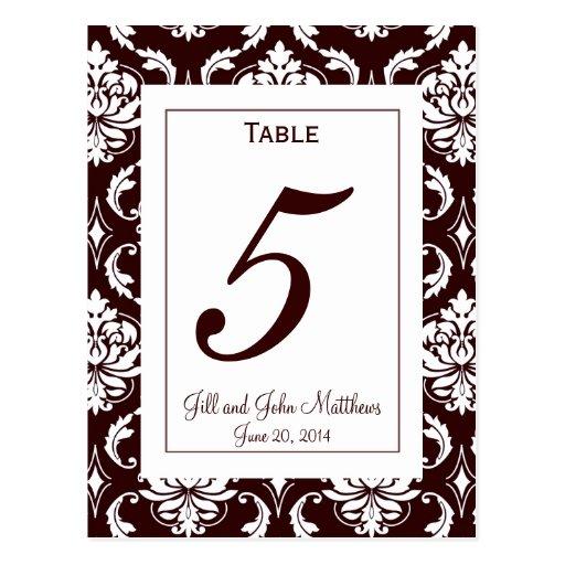 Elegant Chocolate Damask Wedding Table Number Card Postcard
