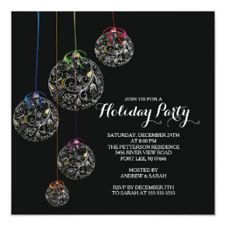 Elegant Christmas Ball Holiday Party Invitation at Zazzle