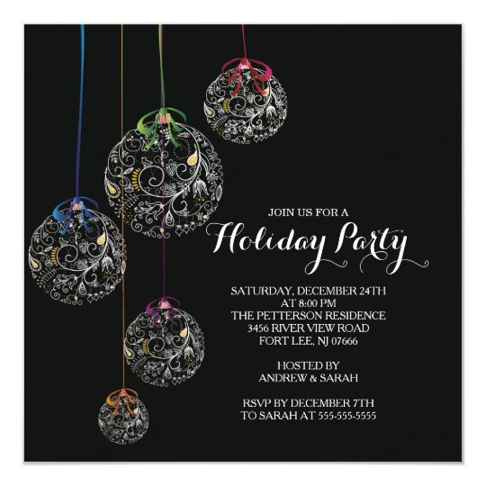 Elegant Christmas Ball Holiday Party Invitation  ZazzleCom
