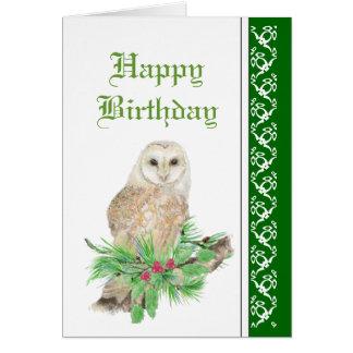 Elegant Christmas, Barn Owl, Bird Card