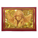 ELEGANT CHRISTMAS BEAUTIFUL GOLDEN ANGEL GIFTS CLOTH PLACEMAT