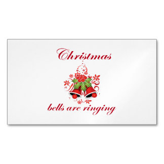 Elegant Christmas Bells Are Ringing Business Card Magnet
