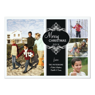 Elegant Christmas Black White Collage Photo Card