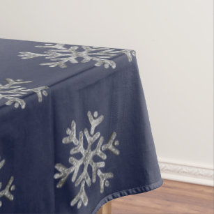 Elegant Christmas Blue Silver Snowflakes Pattern Tablecloth