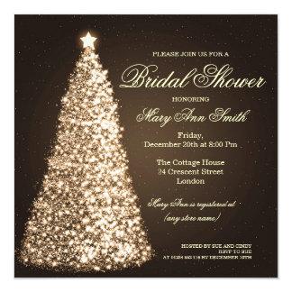"Elegant Christmas Bridal Shower Gold 5.25"" Square Invitation Card"