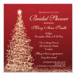 Elegant Christmas Bridal Shower Red Gold Card
