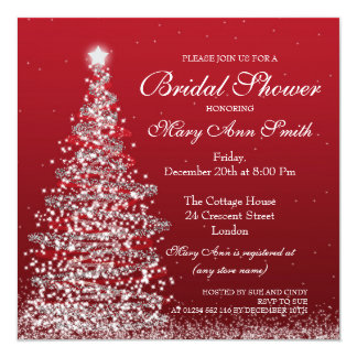 Elegant Christmas Bridal Shower Red Silver Card
