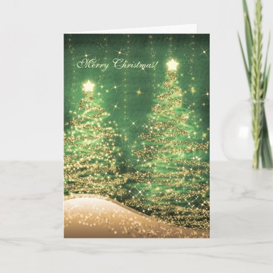elegant christmas cards sparkling trees green - Elegant Christmas Cards