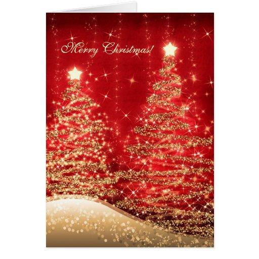 Elegant christmas cards sparkling trees red zazzle for Elegant christmas card messages