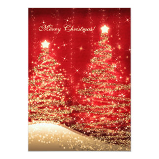 Elegant Christmas Cards Sparkling Trees Red Custom Invites