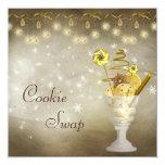 "Elegant Christmas Cookie Swap 5.25"" Square Invitation Card"