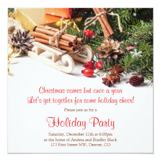 Elegant Christmas Decorations Holiday Party Card