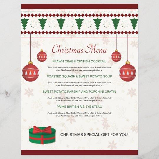 Christmas Dinner Menu.Elegant Christmas Dinner Menu Card