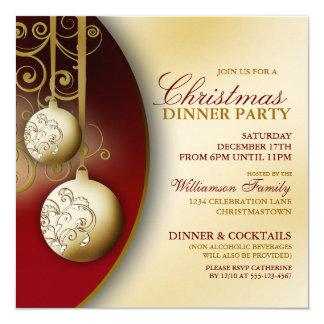 Elegant Christmas Dinner Party Invitations & Announcements | Zazzle