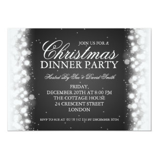Elegant Christmas Dinner Party Magic Sparkle Black Card