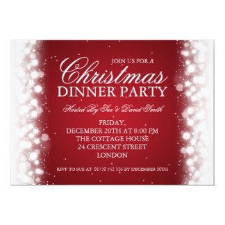 Elegant Christmas Dinner Party Magic Sparkle Red Card